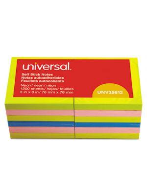 Fan-Folded Self-Stick Pop-Up Notes, 3 x 3, Assorted Neon/Yellow, 100Sheet, 12/PK