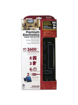 Home Entertainment Surge Protectors, 8 Outlets, 6 ft Cord, 3600 J, Black