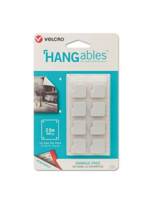 HANGables Removable Wall Fasteners, 0.25 x 7.25, White, 16/Pack