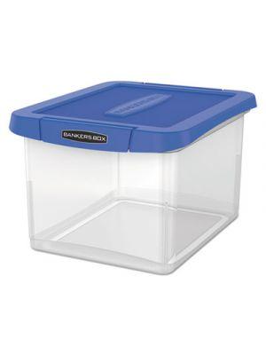 Heavy Duty Plastic File Storage, 14 x 17 3/8 x 10 1/2, Letter/Legal, Clear/Blue