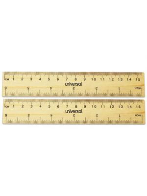 Flat Wood Ruler, Standard/Metric, 6