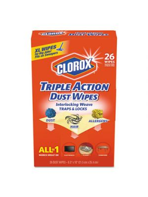 Triple Action Dust Wipes, White, 8 1/2 x 10, 26/Box, 7 Box/Carton