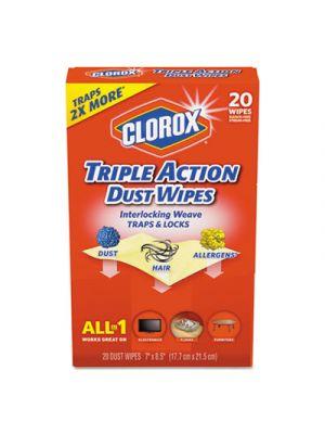 Triple Action Dust Wipes, White, 8 1/2 x 7, 20/Box, 10/Carton