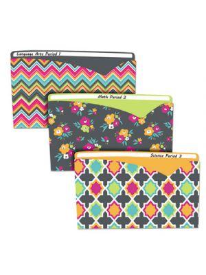 Write-On Fashion Poly File Jackets, Letter, Polypropylene, Assorted Bold, 6/PK