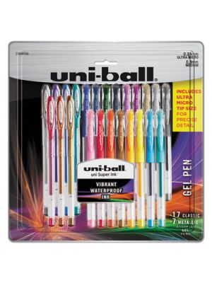 Gel Pens, Ultra Micro and Medium Points, Assorted Ink, 24/Pk