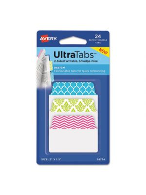 Ultra Tabs Repositionable Tabs, 2 x 1 1/2, Patterns: Blue, Green, Pink, 24/Pack