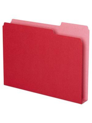 Double Stuff File Folders, 1/3 Cut, Letter, Red, 50/Pack