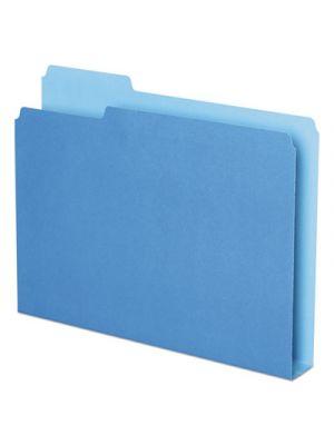 Double Stuff File Folders, 1/3 Cut, Letter, Blue, 50/Pack