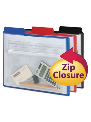 Poly Project Organizer with Zip Pouch, Assorted, 3/Pack