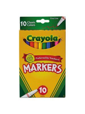 Non-Washable Markers, Fine Point, Classic Colors, 10/Set