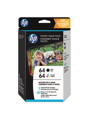 HP 64 Black and Tri-color Photo High Yield Ink Cartridge Value Pack