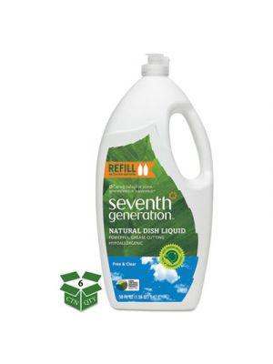 Natural Dishwashing Liquid, Free & Clear, Jumbo 50 oz Bottle, 6/Carton