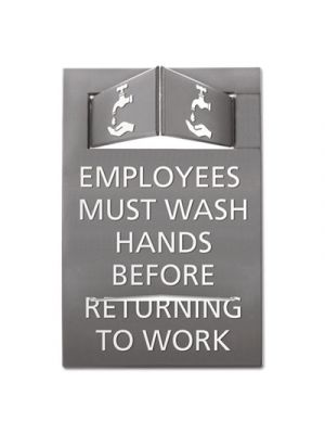 Pop-Out ADA Sign, Wash Hands, Tactile Symbol, Plastic, 6 x 9, Gray/White