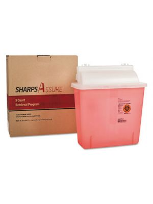 Sharps Retrieval Program Containers, 5 qt, Plastic, Red
