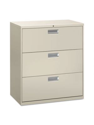 Three-Drawer Lateral File Cabinet, 36w x 19-1/4d x 40-7/8h, Light Gray