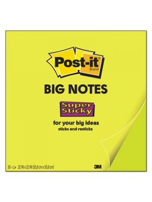 Big Notes, Unruled, 22 x 22, Neon Green, 30 Sheet