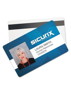 SICURIX Blank ID Card with Magnetic Strip, 2 1/8 x 3 3/8, White, 100/Pack