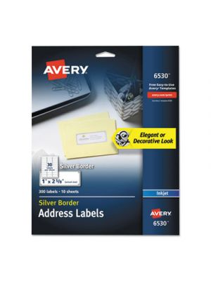 Easy Peel Address Labels w/ Border, Silver, 1 x 2 5/8, 30/Sheet, 10 Sheets/Pack
