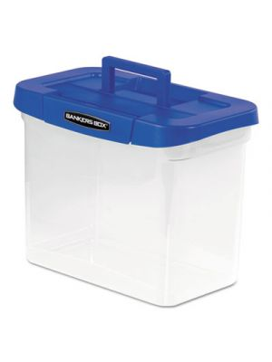 Heavy-Duty Portable File Box, Letter, 14 1/4 x 8 5/8 x 11 1/16, Clear/Blue