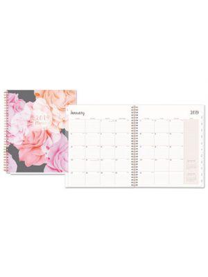 Joselyn Monthly Wirebound Planner, 8 x 10, Light Pink/Peach/Black, 2019
