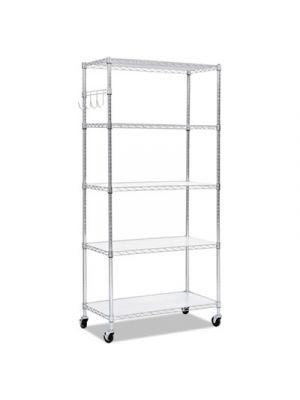 5-Shelf Wire Shelving Kit, 36w x 18d x 72h, Silver