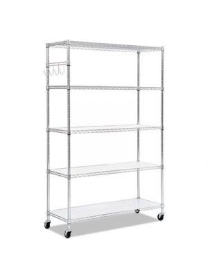 5-Shelf Wire Shelving Kit, 48w x 18d x 72h, Silver
