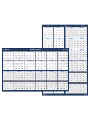 Reversible/Erasable 2 Year Wall Calendar, 24 x 37, Blue, 2019