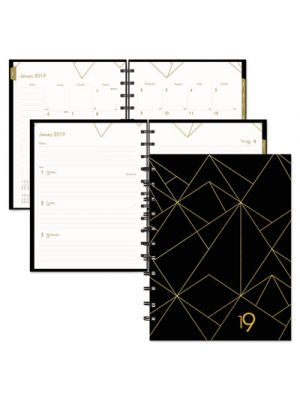 Gold Collection Weekly/Monthly Planner, 11 x 9 3/5, White and Black, 2019