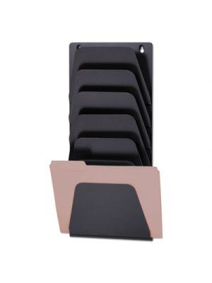Wall File Holder, 7 Sections, Legal/Letter, Black