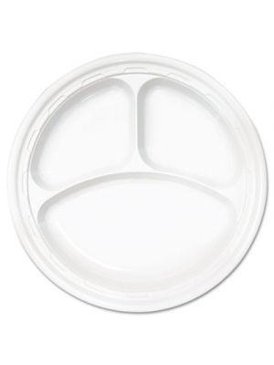 Famous Service Plastic Dinnerware, Plate, 3-Comp, 10 1/4