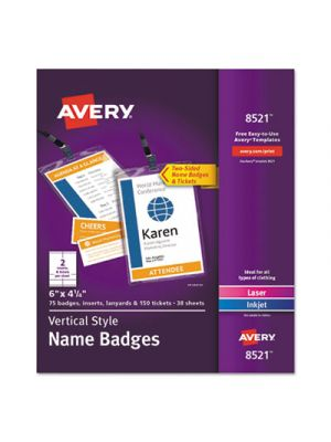 Lanyard-Style Badge Holder w/Laser/Inkjet Inserts, Top Load, 4.25 x 6, WE, 75/PK