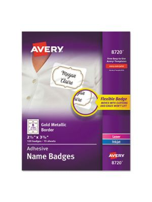 Flexible Adhesive Name Badge Labels, 3 3/8 x 2 1/3, White/Gold Border, 120/PK