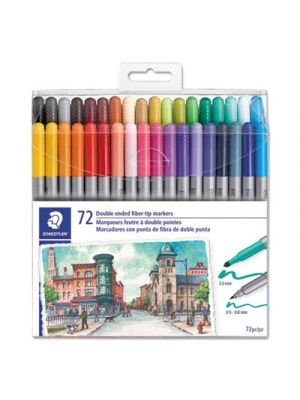 Double Ended Markers, Assorted Bullet Tips, Assorted Colors, 72/Pack