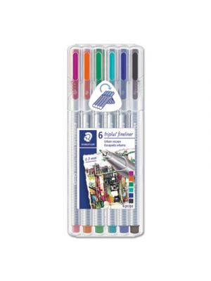 Triplus Fineliner Stick Porous Point Pen, 0.3mm, Assorted Ink, Silver Brl, 6/Set