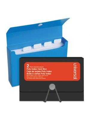 Poly Index Card Box, Plastic, Black/Blue, 3