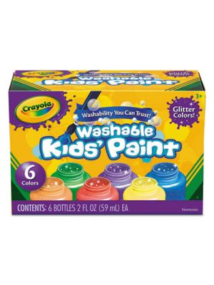 Washable Paint, 6 Colors, Blue/Green/Orange/Purple/Red/Yellow, 2 oz