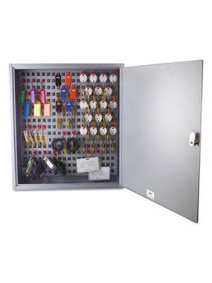 Steel Key Cabinet, 90-Keys, 3.5w x 16.5d x 18.375h, Gray