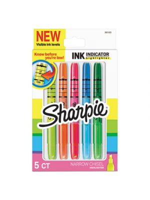 Ink Indicator Stick Highlighters, Chisel Tip, Assorted, 5/PK