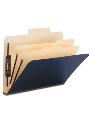 SuperTab Colored Top Tab Classification Folders, 6 Sections, Dark Blue, 10/Box