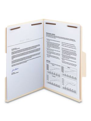 SuperTab Reinforced Guide Height Fastener Folder, 1/3 Tab, Legal, Manila, 50/Box