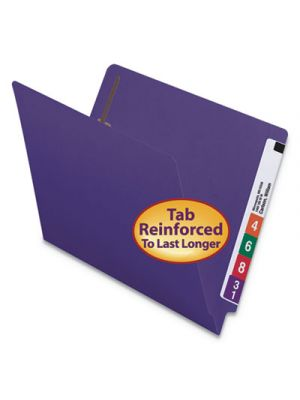 Heavyweight End Tab Folders with Fasteners, Straight Cut, Letter, Purple, 50/Box