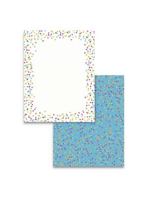 Pre-Printed Paper, 28 lb, 8 1/2 x 11, Multicolor, Watercolor Dots, 100 Sheets/RM