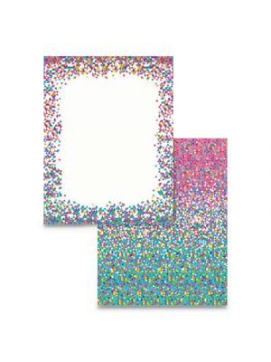 Pre-Printed Paper, 28 lb, 8 1/2 x 11, Multicolor, Confetti, 100 Sheets/RM