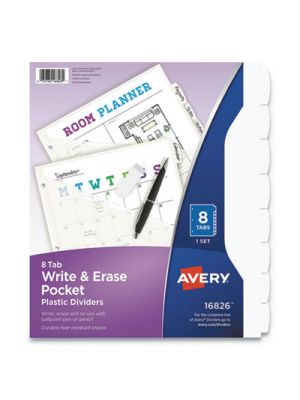 Write and Erase Plastic Dividers with Pocket, 8-Tab, 9 1/4
