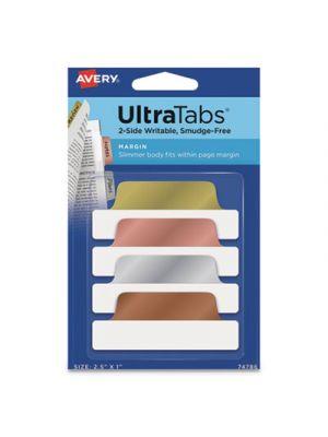 Ultra Tabs Repositionable Tabs, 2.5 x 1, Assorted Metallic, 24/PK