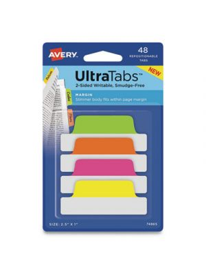 Ultra Tabs Repositionable Tabs, 2.5 x 1, Assorted Neon, 48/PK