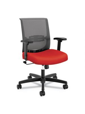Convergence Mid-Back Task Chair, Red/Black, Base: Black
