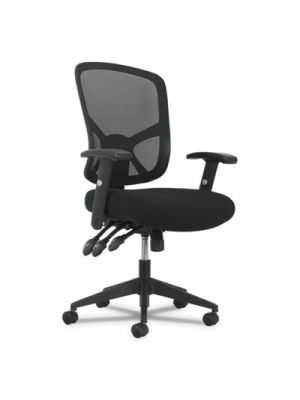1-Twenty-One High-Back Task Chair, Black Mesh Back/Black Fabric Seat