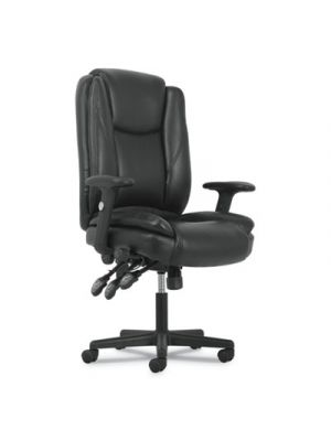 High-Back Executive Chair, Black Leather