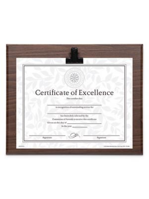 Plaque With Metal Clip, Wood, 8 1/2 x 11 Insert, Walnut
